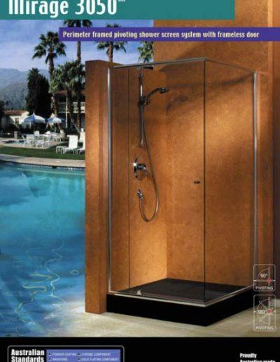 Framed pivoting shower screen system with frameless door